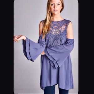 Periwinkle Cold Shoulder Lace Tunic Top Small